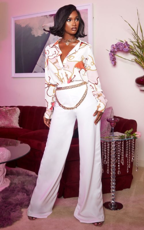 White High Waisted Wide Leg Trousers, White