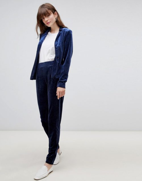 b.Young velvet suit trousers-Navy