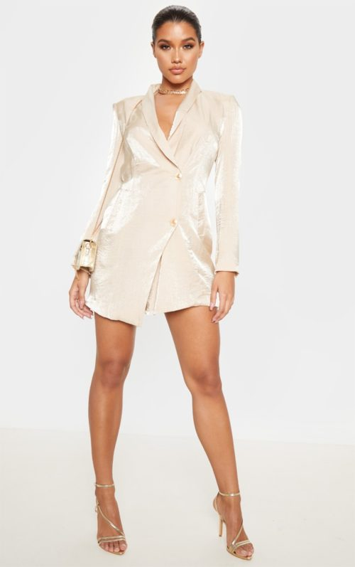Champagne Pleated Shimmer Gold Button Blazer Dress, Champagne