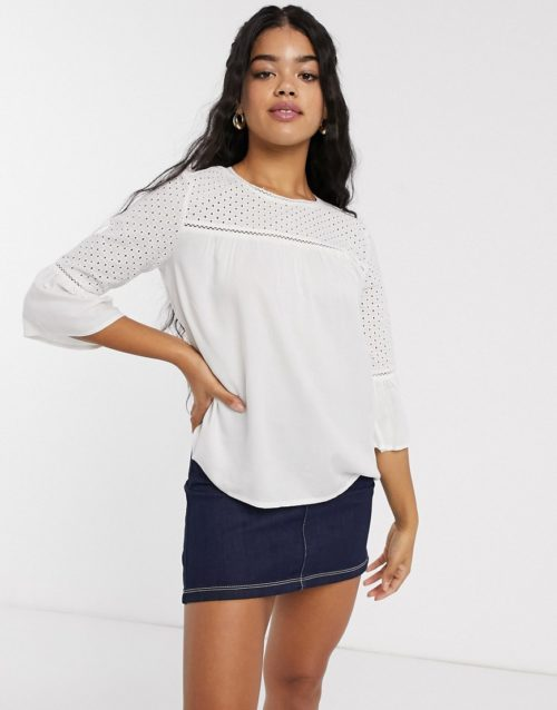 JDY Camill 3/4 sleeve blouse-White