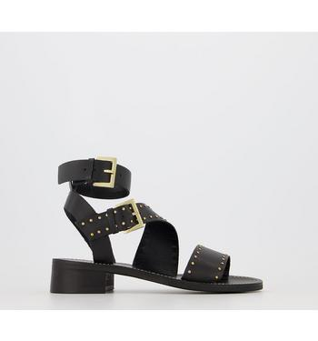 Office Sailing - Buckle Sandal BLACK LEATHER WITH GOLD STUDS