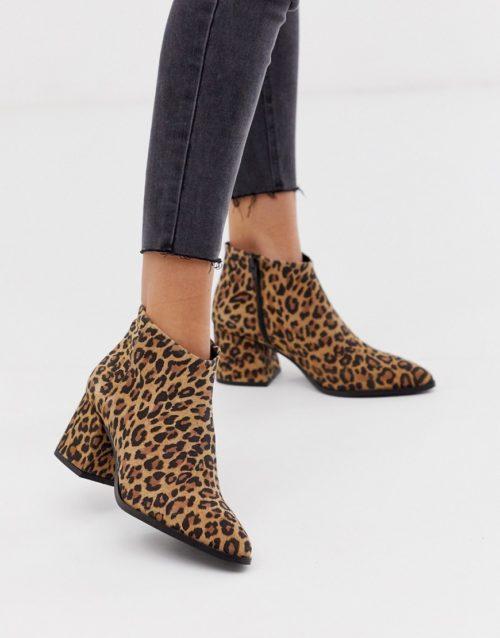 Vero Moda leather leopard print boots-Multi