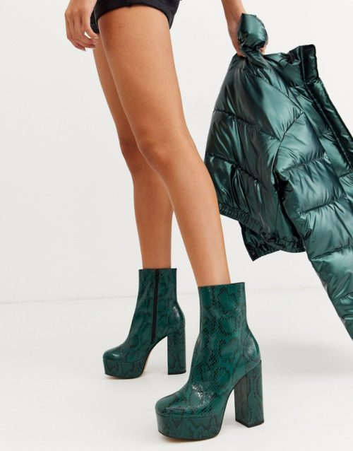 ASOS DESIGN Eclipse leather platform ankle boots in green snake