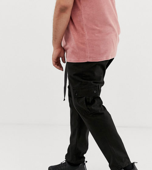 ASOS DESIGN Plus tapered cargo trousers in black with toggles