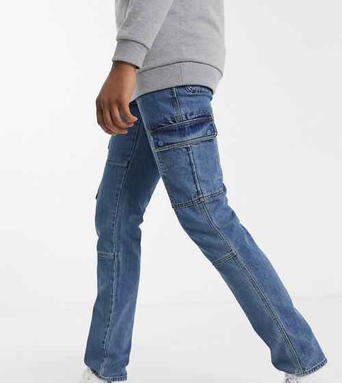ASOS DESIGN Tall slim jeans with utilty pockets in mid wash blue