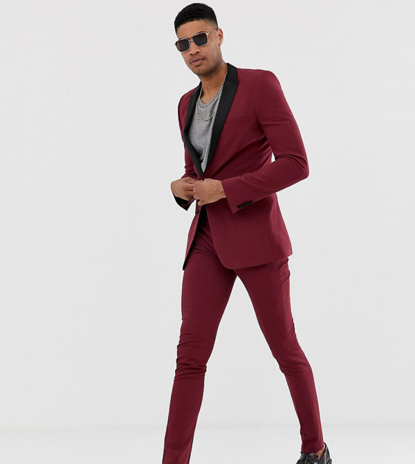 ASOS DESIGN Tall super skinny tuxedo suit trousers in burgundy-Red