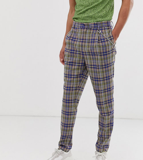 ASOS DESIGN Tall tapered crop smart trousers in grey and blue check with metalwork