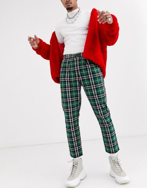 ASOS DESIGN cigarette trousers with pleats in green tartan