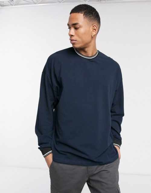 ASOS DESIGN oversized long sleeve t-shirt in pique with contrast tipping in navy