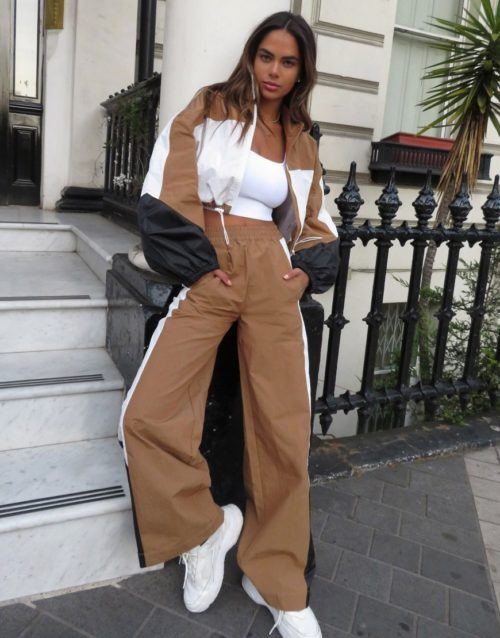 ASOS DESIGN tracksuit jogger with colour blocking co-ord in camel-Tan