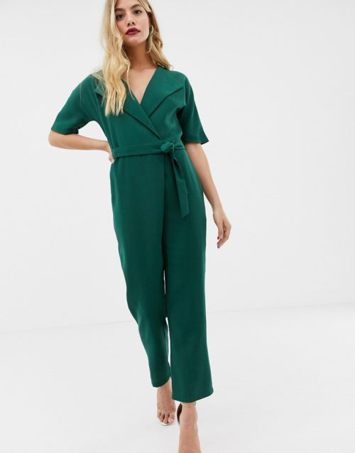 ASOS DESIGN wrap jumpsuit with self belt-Green