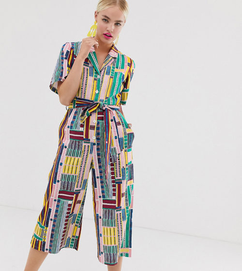 ASOS MADE IN KENYA button up jumpsuit in grid print-Multi