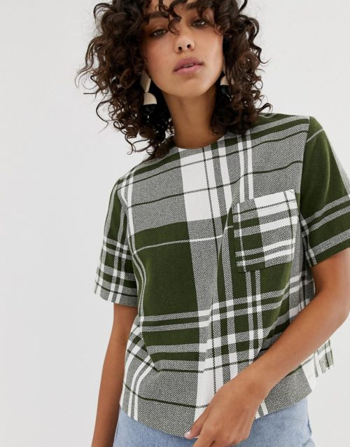 ASOS WHITE multi check woven t-shirt-Green