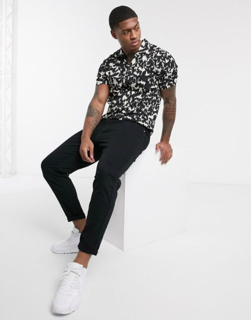 Another Influence revere collar shirt in mono animal print-Black