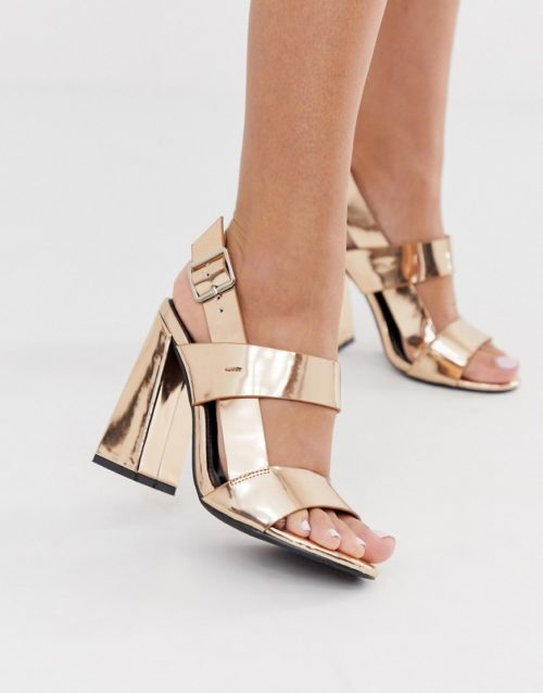 Co Wren curved block heeled sandals in rose gold-Pink