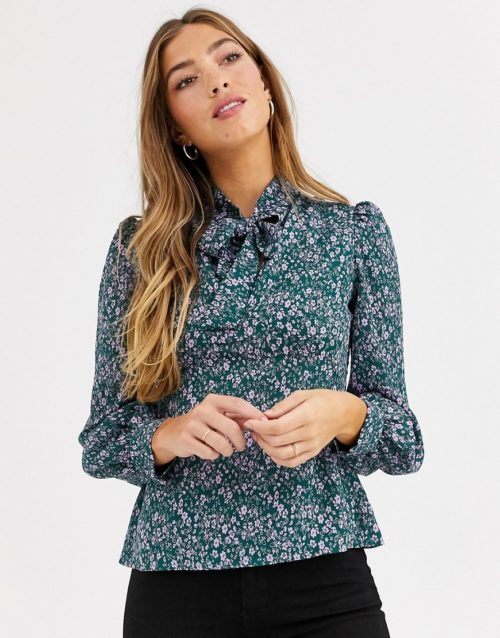 Fashion Union bow neck blouse with balloon sleeve-Green
