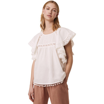 French Connection Ruffle blouse pure cotton CADENZA women's Blouse in White