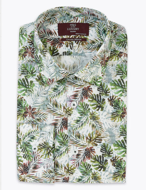 M&S Collection Luxury Tailored Fit Leaf Print Pure Cotton Shirt