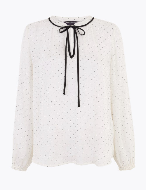 M&S Collection Polka Dot Tie Neck Long Sleeve Blouse