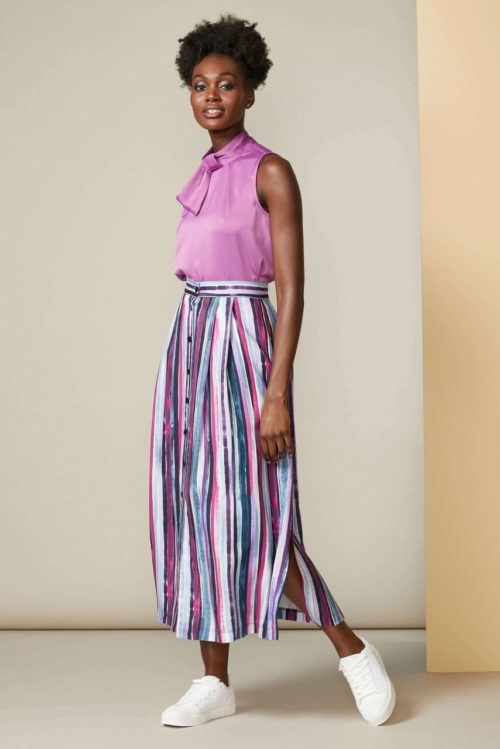 Paint Stripe A-Line Skirt with Buttons