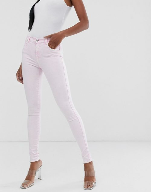 Replay super skinny high waist Jeans in bleach pink-No Colour