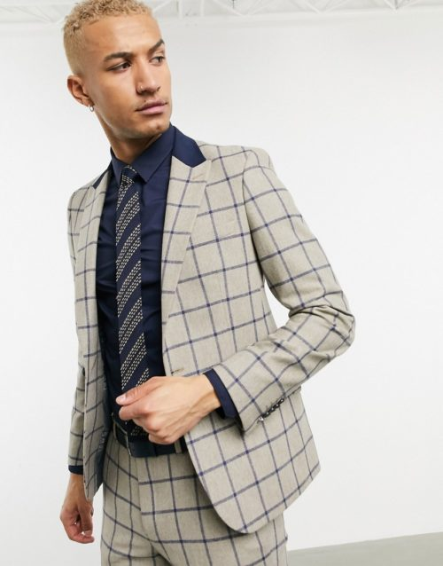 Shelby & Sons slim suit jacket in brown with navy windowpane check