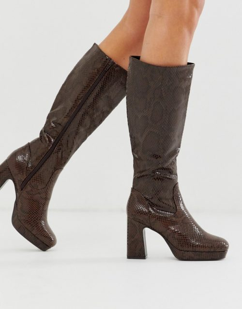 Truffle Collection platform knee high boot in snake-Brown