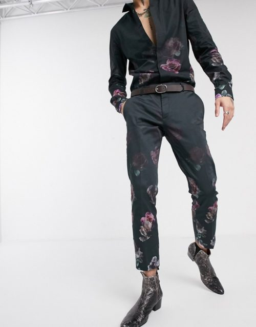Twisted Tailor trousers with floral fade print in black