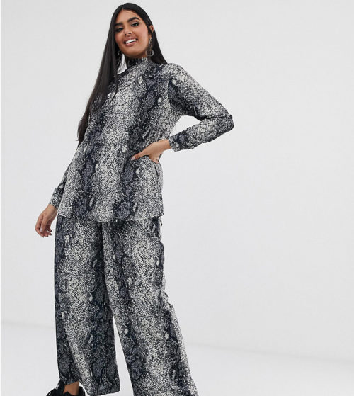 Verona Curve wide leg trouser co-ord in python print-Grey