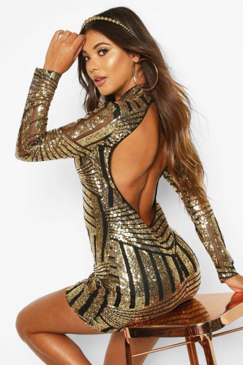 Womens Boutique Sequin And Mesh Bodycon Dress - Metallics - 14, Metallics