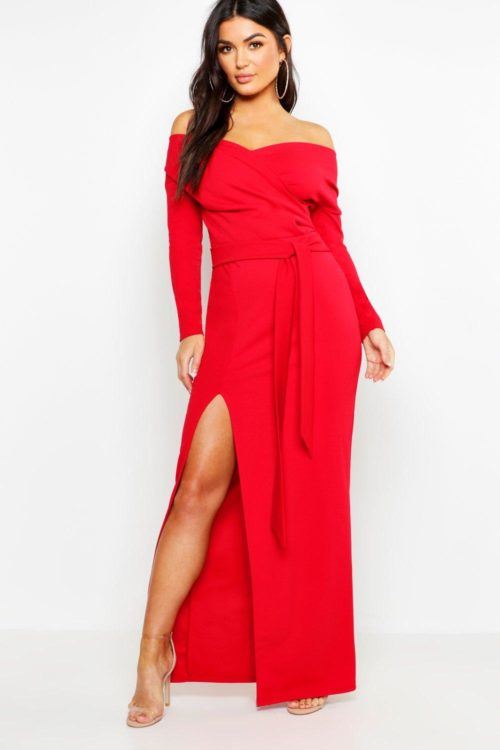 Womens Off The Shoulder Split Maxi Bridesmaid Dress - Red - 6, Red