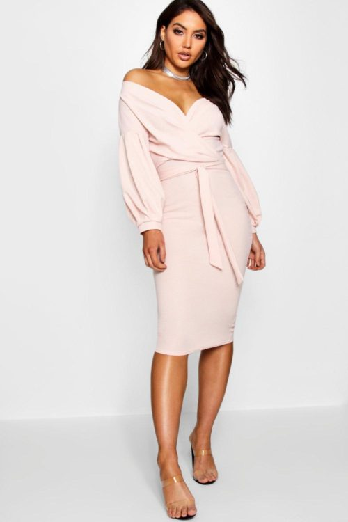 Womens Off The Shoulder Wrap Midi Bodycon Dress - Pink - 8, Pink