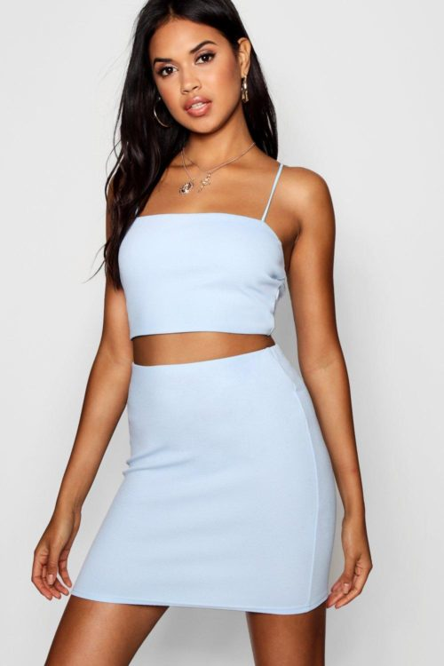 Womens Strappy Crop & Mini Skirt Co-Ord Set - Blue - 12, Blue