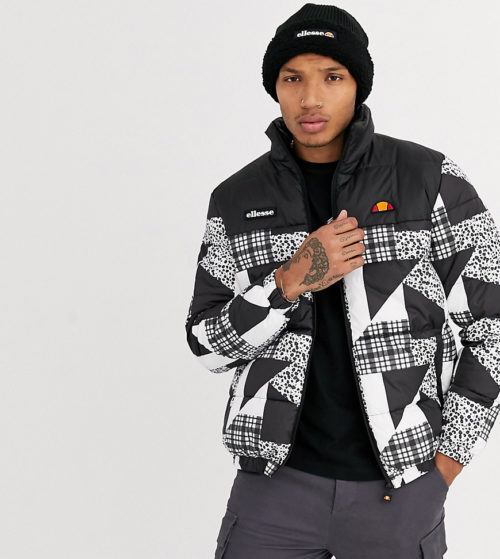 ellesse Pete patchwork print wadded jacket in black/white exclusive at ASOS